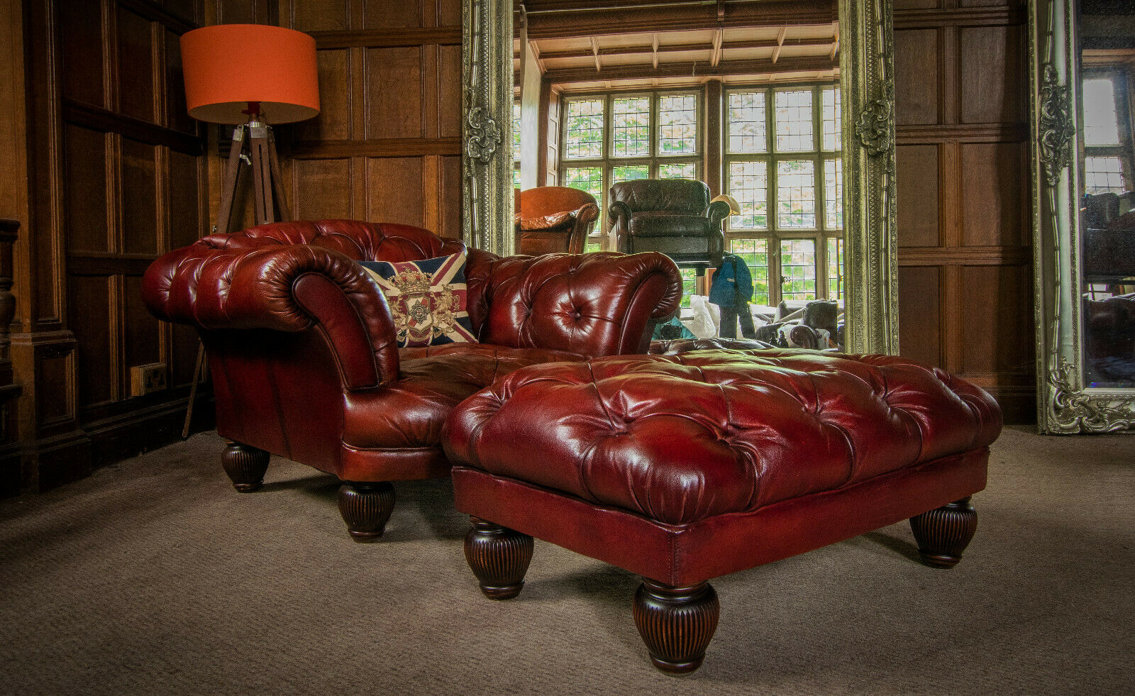 Picture of: F50 1276 Tetrad Oskar Grand Tour Oxblood Red Leather Chesterfield Club Chair Footstool Folio 50 Stourport Antique Furniture